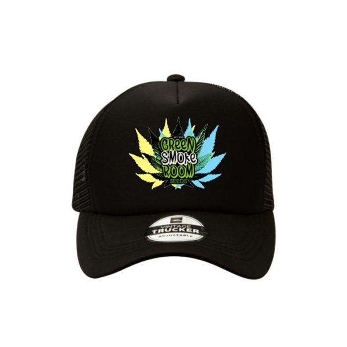 Green Smoke Room Leaf Trucker Cap Black