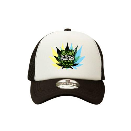 Green Smoke Room Leaf Trucker Cap Black White