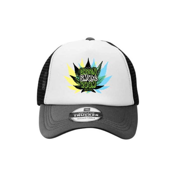 Green Smoke Room Leaf Trucker Cap Black White Grey