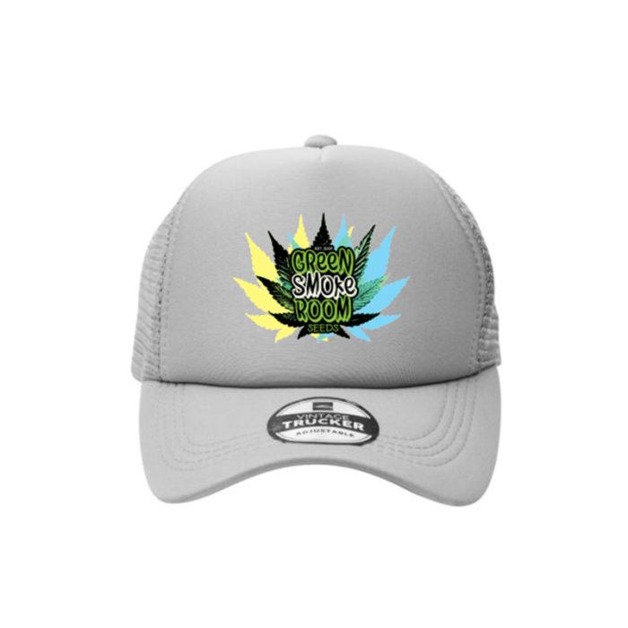 Green Smoke Room Leaf Trucker Cap Grey