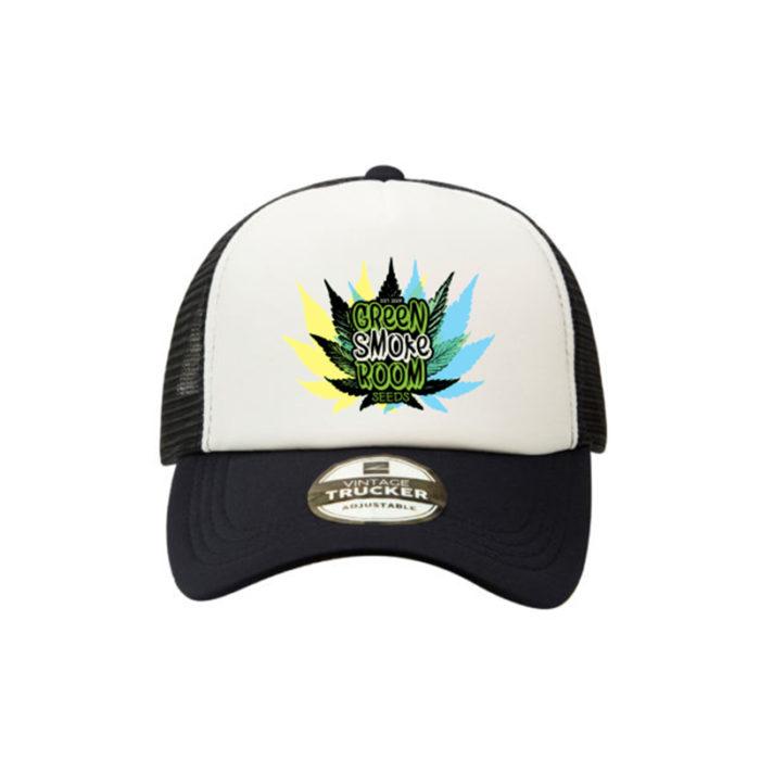 Green Smoke Room Leaf Trucker Cap Navy White