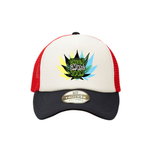 Green Smoke Room Leaf Trucker Cap Navy White Red