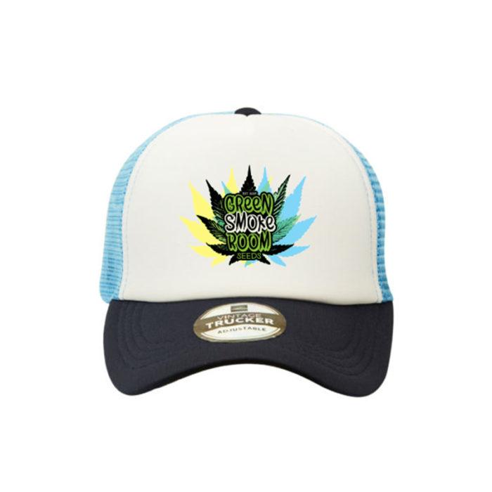 Green Smoke Room Leaf Trucker Cap Navy White Skyblue