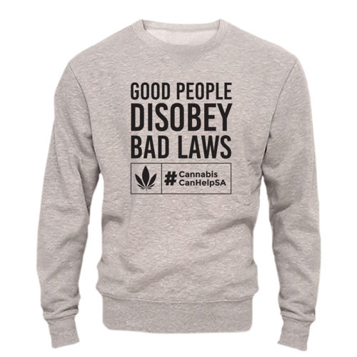Good People Disobey Bad Laws Sweater CCHSA Grey and Black